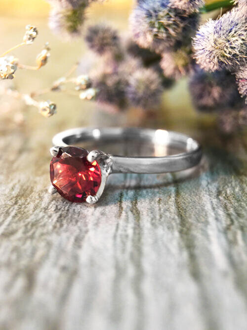 Raspberry Tourmaline Solitaire Engagement <Prong> Solid 14K White Gold (14KW) Colored Stone Wedding Ring