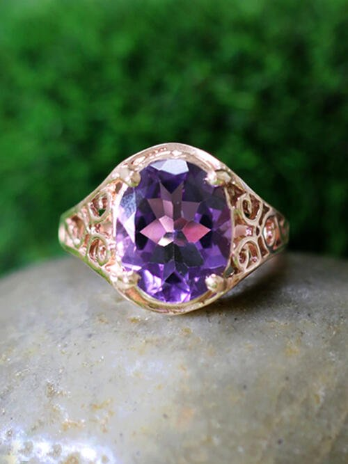 Amethyst Solid 14K Rose Gold (14KR) Enchanted Vine Work Filigree Ring
