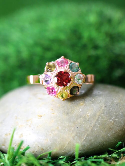 Multicolor Tourmaline Cluster Cocktail <Prong> Solid 14K Rose Gold (14KR) Affordable Colored Stone Ring