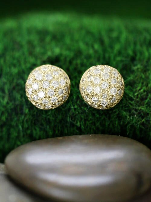 14.5x14.5MM Diamond Cluster Dome Stud <Pave> Solid 14K Yellow Gold (14KY) Earrings