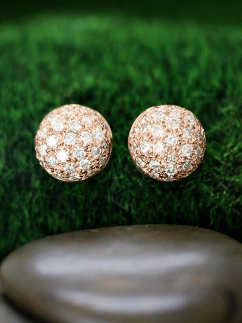 14.5x14.5MM Diamond Cluster Dome Stud <Pave> Solid 14K Rose Gold (14KR) Earrings