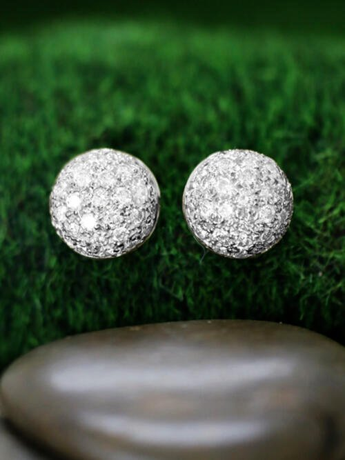 14.5x14.5MM Diamond Cluster Dome Stud <Pave> Solid 14K White Gold (14KW) Earrings