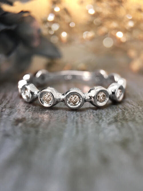 Champagne Diamond Eternity with Sizing Bar Wedding Band <Bezel> Solid 14K White Gold (14KW) Stackable Ring