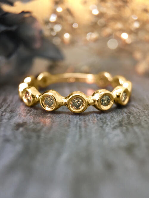 Champagne Diamond Eternity with Sizing Bar Wedding Band <Bezel> Solid 14K Yellow Gold (14KY) Stackable R