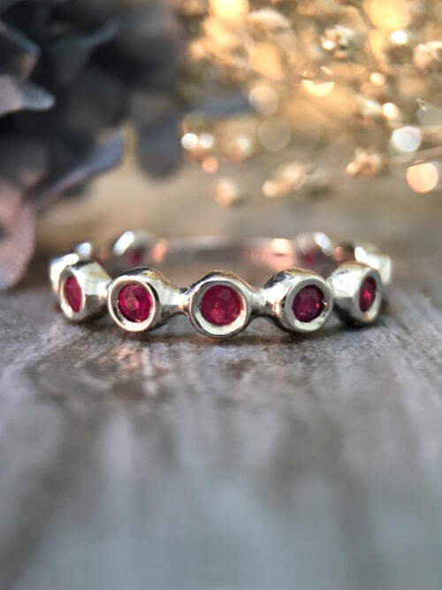 Ruby Eternity with Sizing Bar Wedding Band <Bezel> Solid 14K White Gold (14KW) Colored Stone Stackable Ring