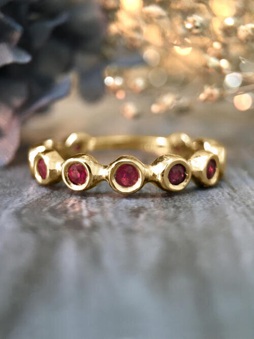 Ruby Eternity with Sizing Bar Wedding Band <Bezel> Solid 14K Yellow Gold (14KY) Colored Stone Stackable Ring