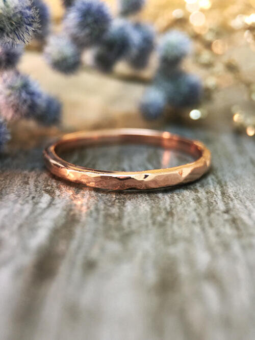 1.9MM Hammered Wedding Band Solid 14K Rose Gold (14KR) Minimalist Stackable Women's Engagement Ring