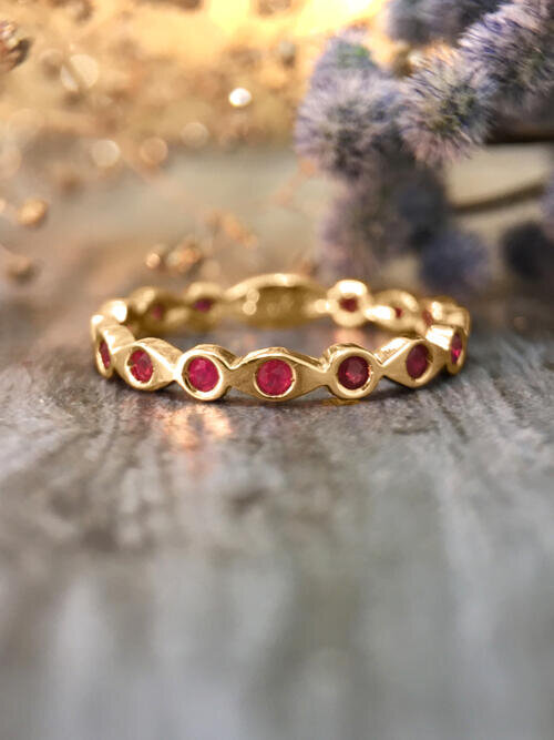 Ruby Eternity with Sizing Bar Band <Pave> Solid 14K Yellow Gold (14KY) Colored Stone Stackable Ring