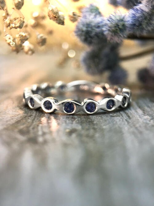 Blue Sapphire Eternity with Sizing Bar Band <Pave> Solid 14K White Gold (14KW) Colored Stone Stackable Ring