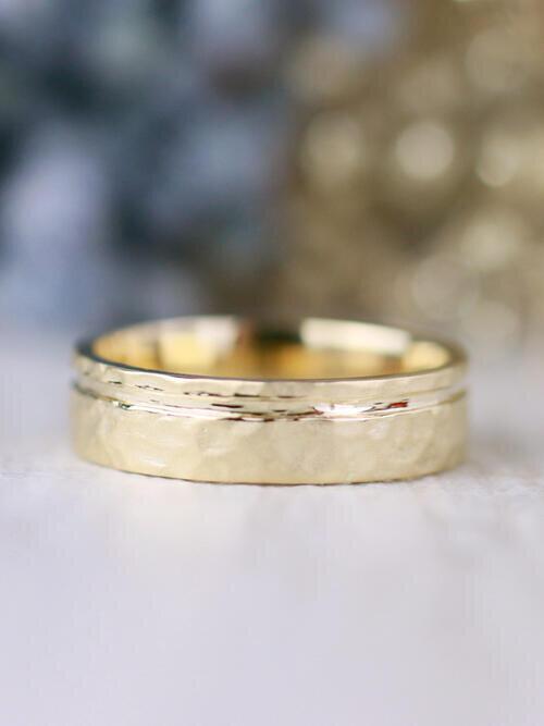Men's Hammered Matte Solid 14 Karat Gold Wedding Band