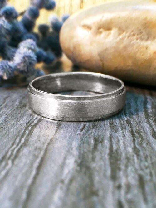 5.5MM Satin Finish with Polished Rim Wedding Band Solid 14K White Gold (14KW) Modern Men's Engagement Ring