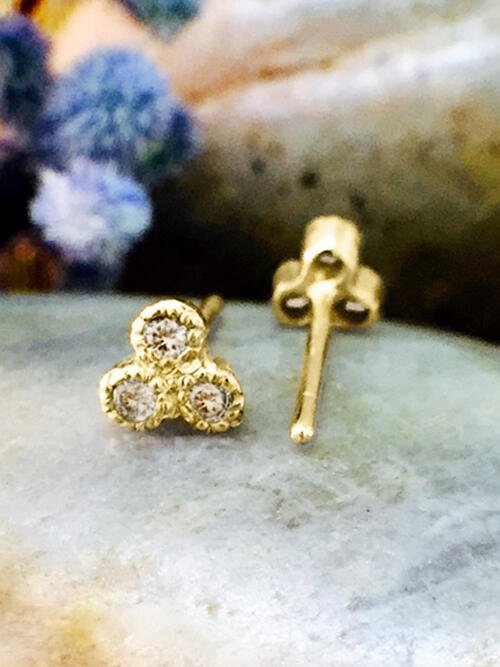 Champagne Diamond Petite Stud <Filigree Bezel> Solid 14K Yellow Gold (14KY) Earrings