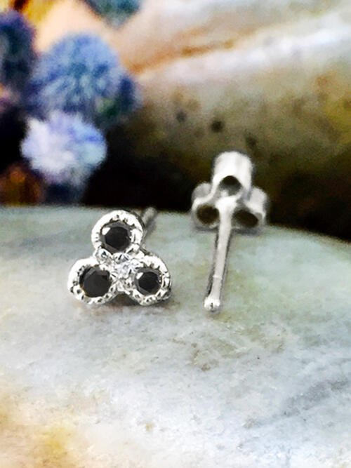 Black Diamond Petite Stud <Filigree Bezel> Solid 14K White Gold (14KW) Earrings