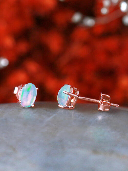 6x4MM Opal Stud Solid 14 Karat Gold Stud Earrings