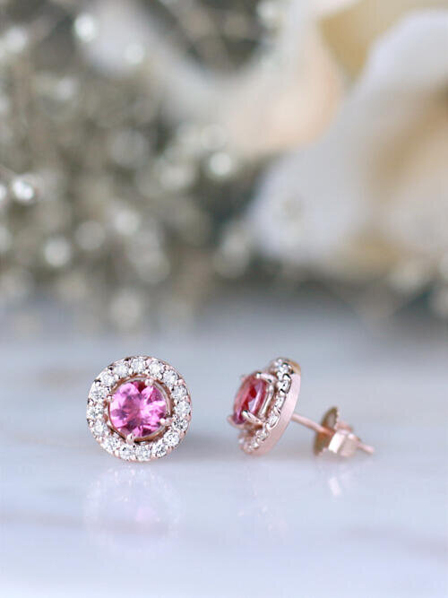 Pink Tourmaline and Diamond Halo Stud <Prong> Solid 14K Rose Gold (14KR) Colored Stone Earrings