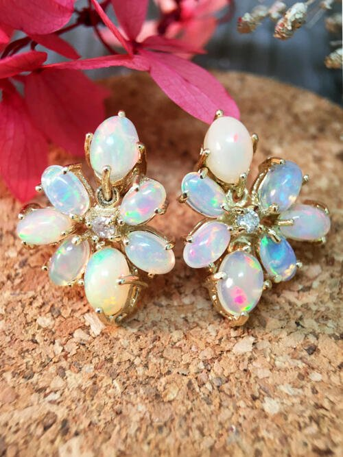 14x19MM Opal and Diamond Cluster Stud <Prong> Solid 14K Yellow Gold (14KY) Colored Stone Earrings
