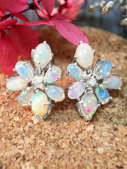 14x19MM Opal and Diamond Cluster Stud <Prong> Solid 14K White Gold (14KW) Colored Stone Earrings