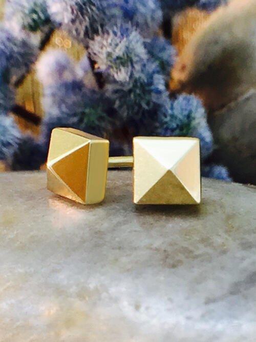 5x5MM Pyramid Stud Solid 14K Yellow Gold (14KY) Geometric Minimalist Earrings