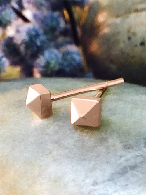 3.5x3.5MM Petite Pyramid Stud Solid 14K Rose Gold (14KR) Geometric Minimalist Earrings
