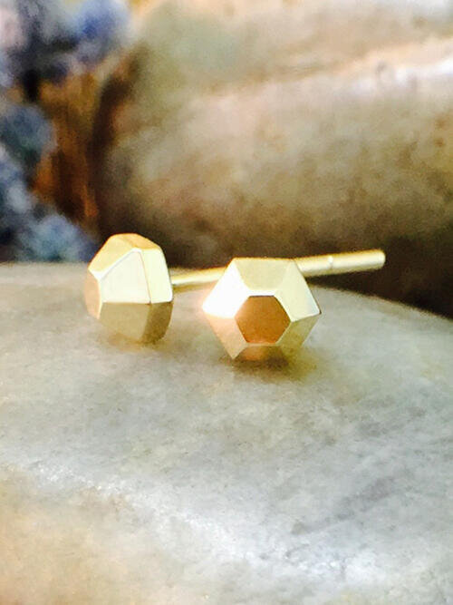 4x4MM Petite Hexagon Stud Solid 14K Yellow Gold (14KY) Geometric Minimalist Earrings