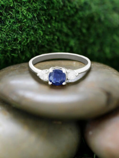 5x5MM Blue Sapphire and Diamond Engagement <Prong> Solid 14K White Gold (14KW) Colored Stone Wedding Ring