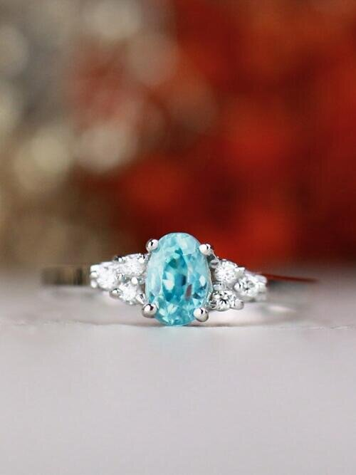 6x4MM Blue Zircon and Diamond Engagement <Prong> Solid 14K Gold Colored Stone Wedding Ring