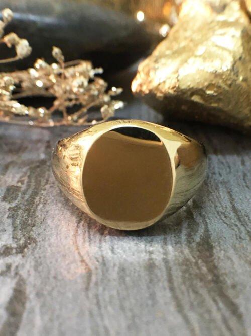 11x9MM Pinky Signet Ring (Unisex) 14 Karat Yellow Gold (14KT) Solid Yellow Gold