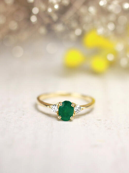 5x7MM Emerald and Diamond Engagement <Prong> Solid 14K Yellow Gold (14KY) Colored Stone Wedding Ring
