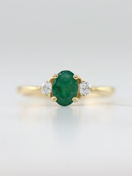 Emerald Diamond 14k Yellow Gold Colored Stone Wedding Ring