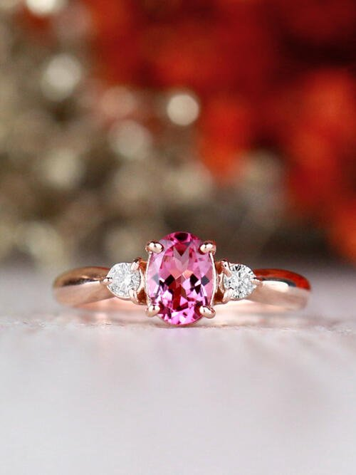 5x7MM Pink Tourmaline and Diamond Engagement <Prong> Solid 14K White Gold (14KW) Colored Stone Wedding Ring