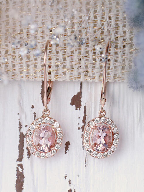 Morganite and Diamond Halo Chandelier Leverback Wedding Solid 14 Karat Gold Earrings