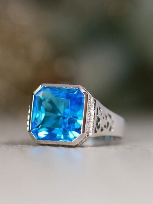 Modern Swiss Blue Topaz Bezel Solid 14 Karat Gold Statement Ring
