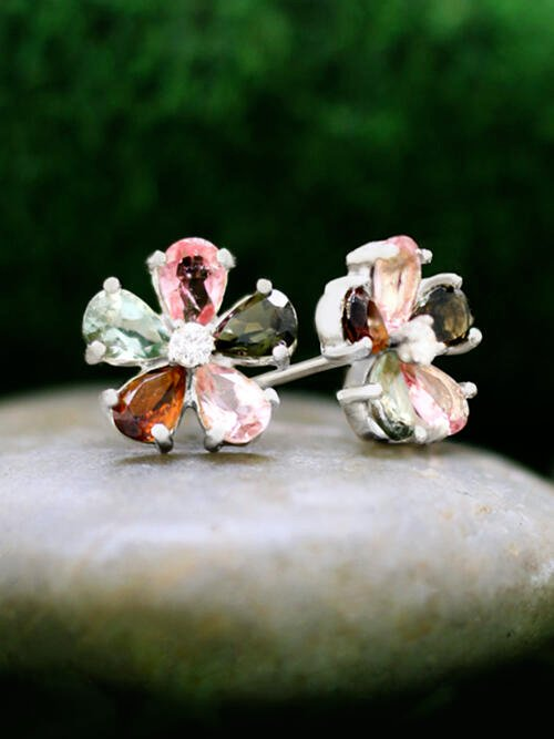 Multicolor Tourmaline and Diamond Stud <Prong> Solid 14K White Gold (14KW) Colored Stone Floral Earrings