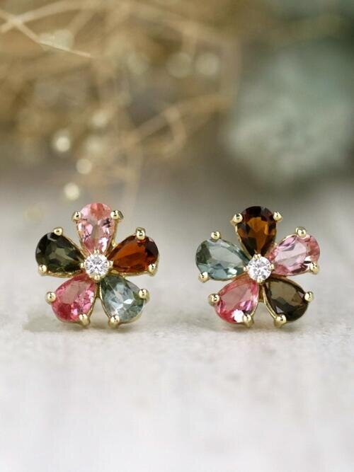 Multicolor Tourmaline and Diamond Stud <Prong> Solid 14K Rose Gold (14KR) Colored Stone Floral Earrings