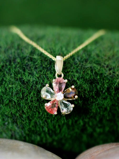 Multicolor Tourmaline and Diamond Pendant <Prong> Solid 14K Yellow Gold (14KY) with Bonus 14KY Chain Necklace