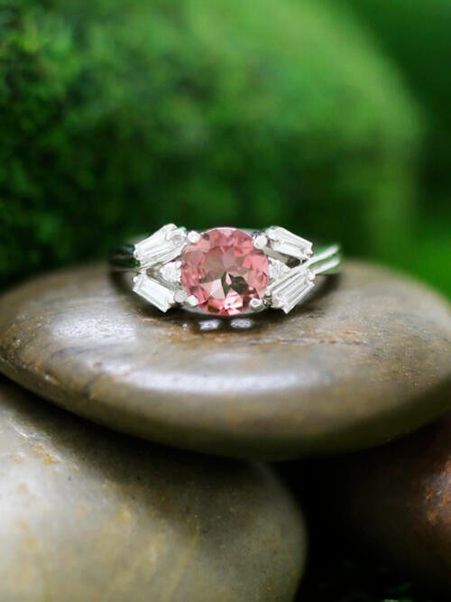 Pink Tourmaline and Diamond Engagement <Prong> Solid 14K White Gold (14KW) Colored Stone Wedding Ring