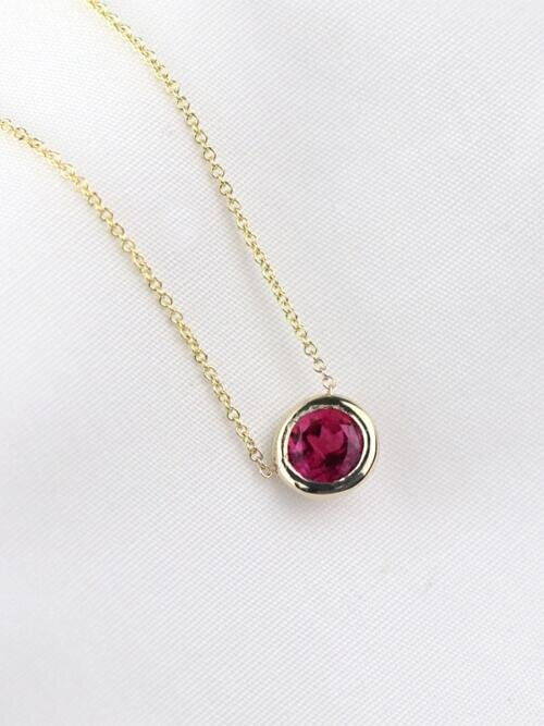 Pink Tourmaline Solitaire Pendant <Bezel> Solid 14K Yellow Gold (14KY) Minimalist Chain Necklace