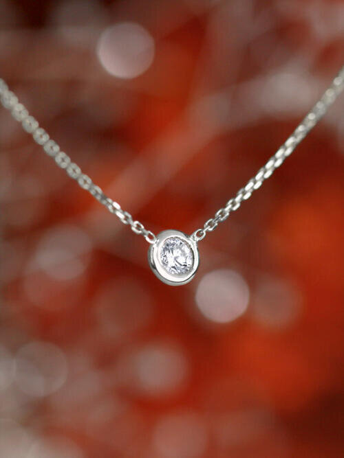 Diamond Solitaire Pendant <Bezel> Solid 14K White Gold (14KW) Minimalist Chain Necklace
