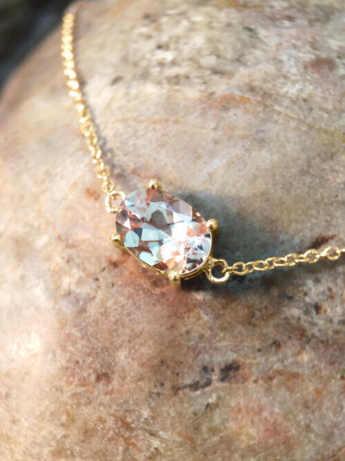 Morganite Pendant <Prong> Solid 14K Yellow Gold (14KY) Affordable Colored Stone Chain Necklace