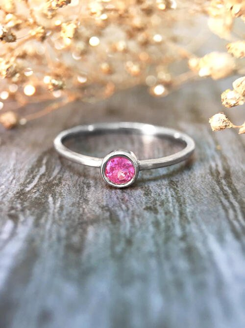 3.4MM Pink Tourmaline Solitaire <Bezel> Solid 14K White Gold (14KW) Colored Stone Stackable Ring