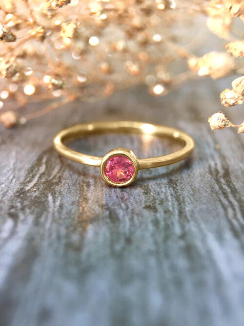 3.4MM Pink Tourmaline Solitaire <Bezel> Solid 14K Yellow Gold (14KY) Colored Stone Stackable Ring