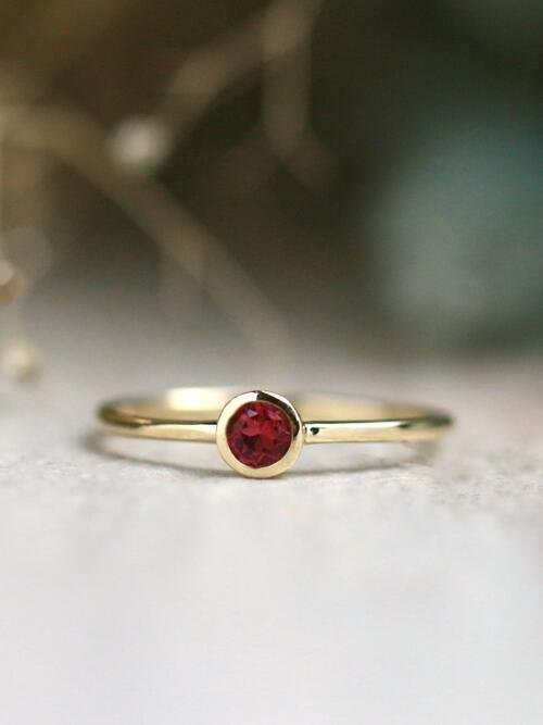 3.4MM Pink Tourmaline Solitaire <Bezel> Solid 14K Rose Gold (14KR) Colored Stone Stackable Ring