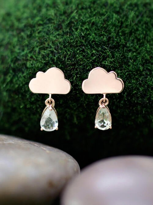 15x9MM Tourmaline Rain Cloud Dangle <Prong> Solid 14K Rose Gold (14KR) Whimsical Colored Stone Earrings