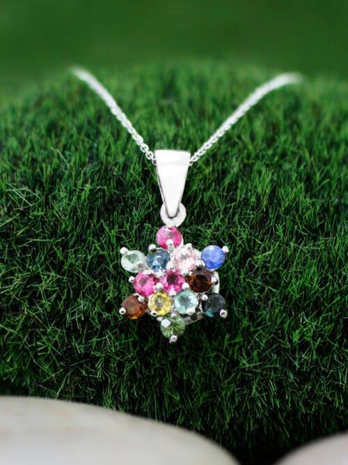 Multicolor Tourmaline Cluster Star Pendant <Prong> Solid 14K White Gold (14KW) Bonus 14KW Chain Necklace