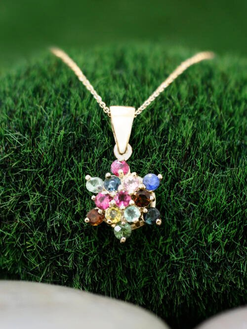 Multicolor Tourmaline Cluster Star Pendant <Prong> Solid 14K Yellow Gold (14KY) Bonus 14KY Chain Necklace