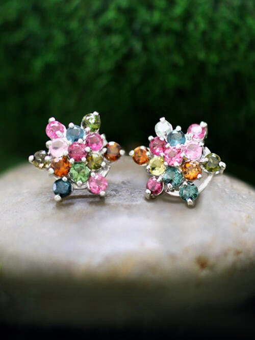 Multicolor Tourmaline Cluster Stud <Prong> Solid 14K White Gold (14KW) Colored Stone Six Point Star Earrings