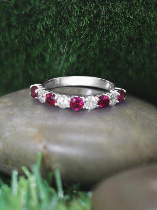 Ruby and Diamond Wedding Band <Prong> Solid 14K White Gold (14KW) Colored Stone Stackable Ring