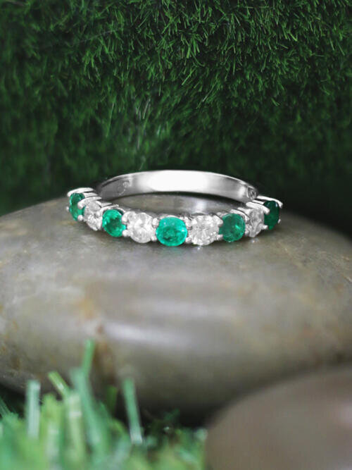 Emerald and Diamond Wedding Band <Prong> Solid 14K White Gold (14KW) Colored Stone Stackable Ring