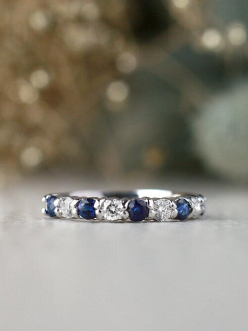 Blue Sapphire and Diamond Stackable Solid 14 Karat Gold Wedding Band