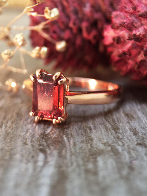 5x7MM Pink Tourmaline Solitaire Engagement <Prong > Solid 14K Rose Gold (14KR) Colored Stone Wedding Ring